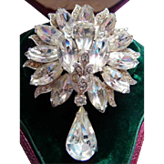 Eisenberg Ice clear rhinestone pin brooch
