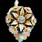 Unsigned gold tone rhinestone pin brooch