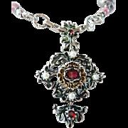 Austro-Hungarian garnet pendant brooch.