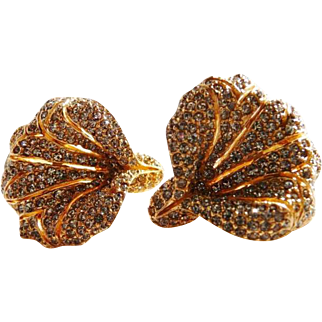 Ciner lily flower pave' clip earrings