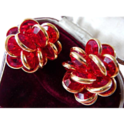 vintage signed Swarovski cluster clip earrings