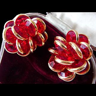vintage signed Swarovski cluster clip earrings