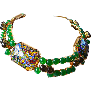 vintage Schreiner Italian millefiori necklace