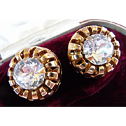 Vintage headlight rhinestone clip earrings