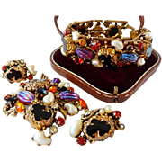 vintage Florenza watermelon AB stones jewelry set