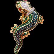 vintage KJL lizard pin brooch