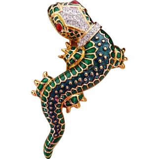 vintage KJL lizard pin brooch