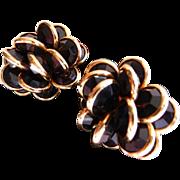Signed Swarovski cluster clip earrings