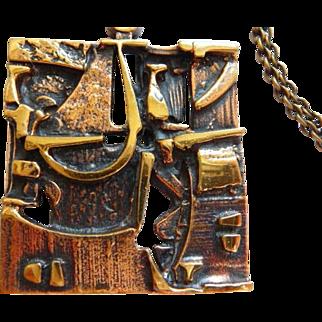 vintage Jorma Laine cast bronze necklace