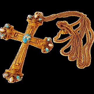 vintage cast brass bronze cross Byzantine necklace
