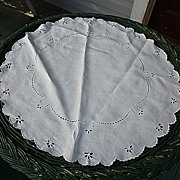 """Embroidered Broderie Anglais White Linen 24"""" Round"""