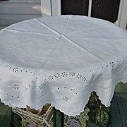 "Embroidered Broderie Anglais White Linen 46"" Round"