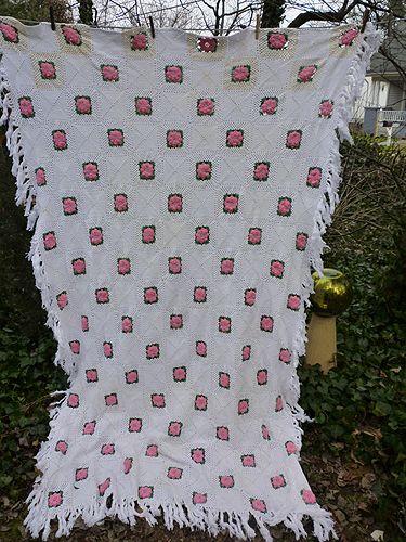 Irish Roses Pink Green White Handmade Crochet Bedspread