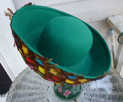 Fabulous Feathers Vintage Mr John Label Emerald Green Wool Hat