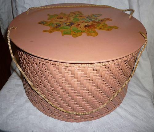 Pink Harvey Wicker Sewing Basket Floral Top Spool Tray