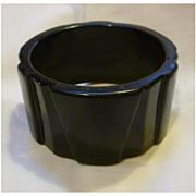 Jet Black Art Deco Geometric Hard Plastic Bangle