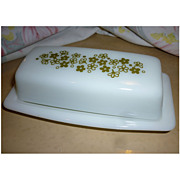 Pyrex  Spring Blossom Green White and Green Butter Dish