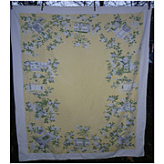 White Roses and Old Town With Houses Print Vintage Tablecloth