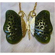 Deep Jade Green Carved Lucite Wings Rhinestone Eyes Asian Butterfly Necklace Vintage Gold Crown Inc.