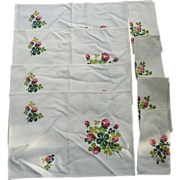 Set of 8 Lucky Clover Flower and Leaves Motif Print Place Mats Napkins Vintage 1940's 50s