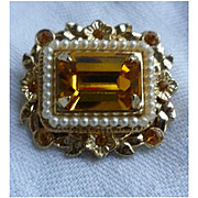 Coro Emerald Cut Yellow Glass Stones with Faux Seed Pearls Brooch