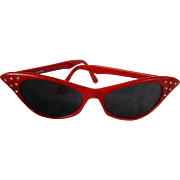 Red Catseye with Rhinestones Sunglasses