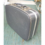 Vintage Gray Overnighter Suitcase with Mirror and Chrome Trim