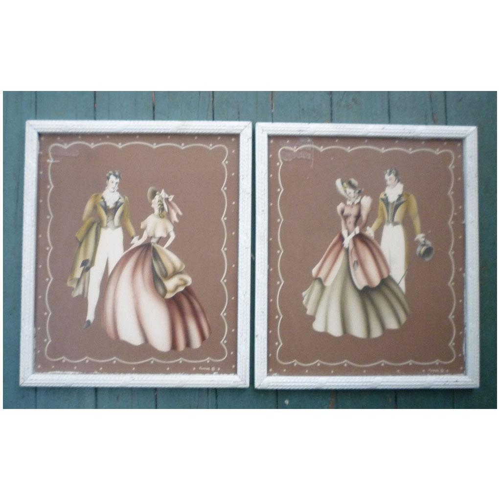 Pair Framed Turner Prints Antebellum Couples