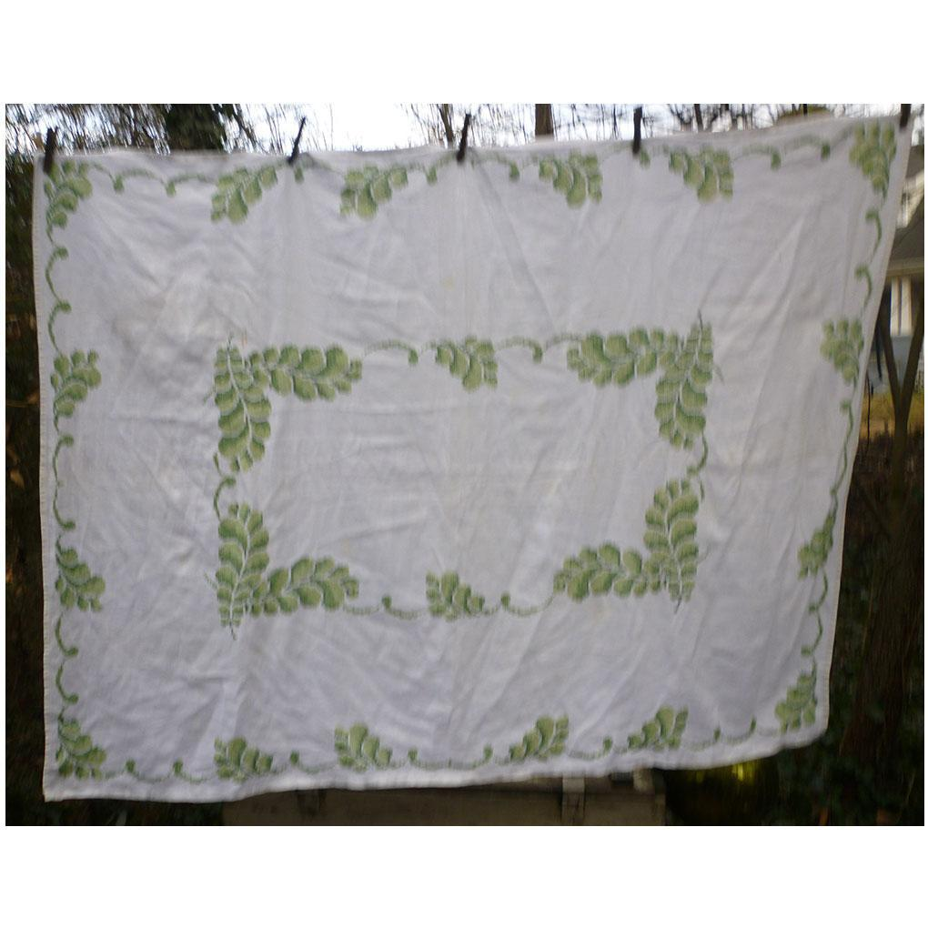Lovely Large Linen Green Scrolls Cross Stitch Embroidered Tablecloth