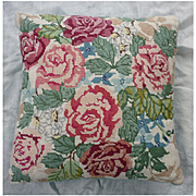 Pink and Red Roses Wool Needlepoint Pillow