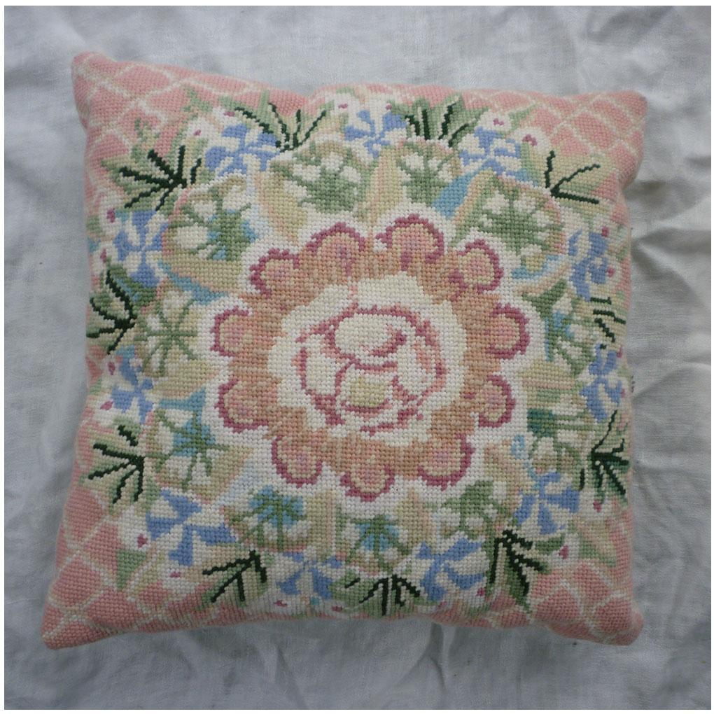 Large Pink Flower with Floral Wreath Wool Needlepoint Pillow