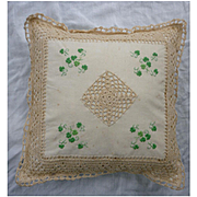 Hand Made Embroidered Shamrocks and Crochet Pillow