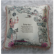 WW II Vintage Aloha Hawaii Souvenir Pillow To My Sister Poem