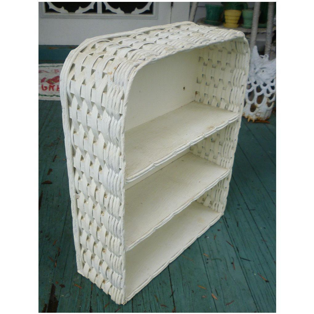 White Wicker Wall Shelf