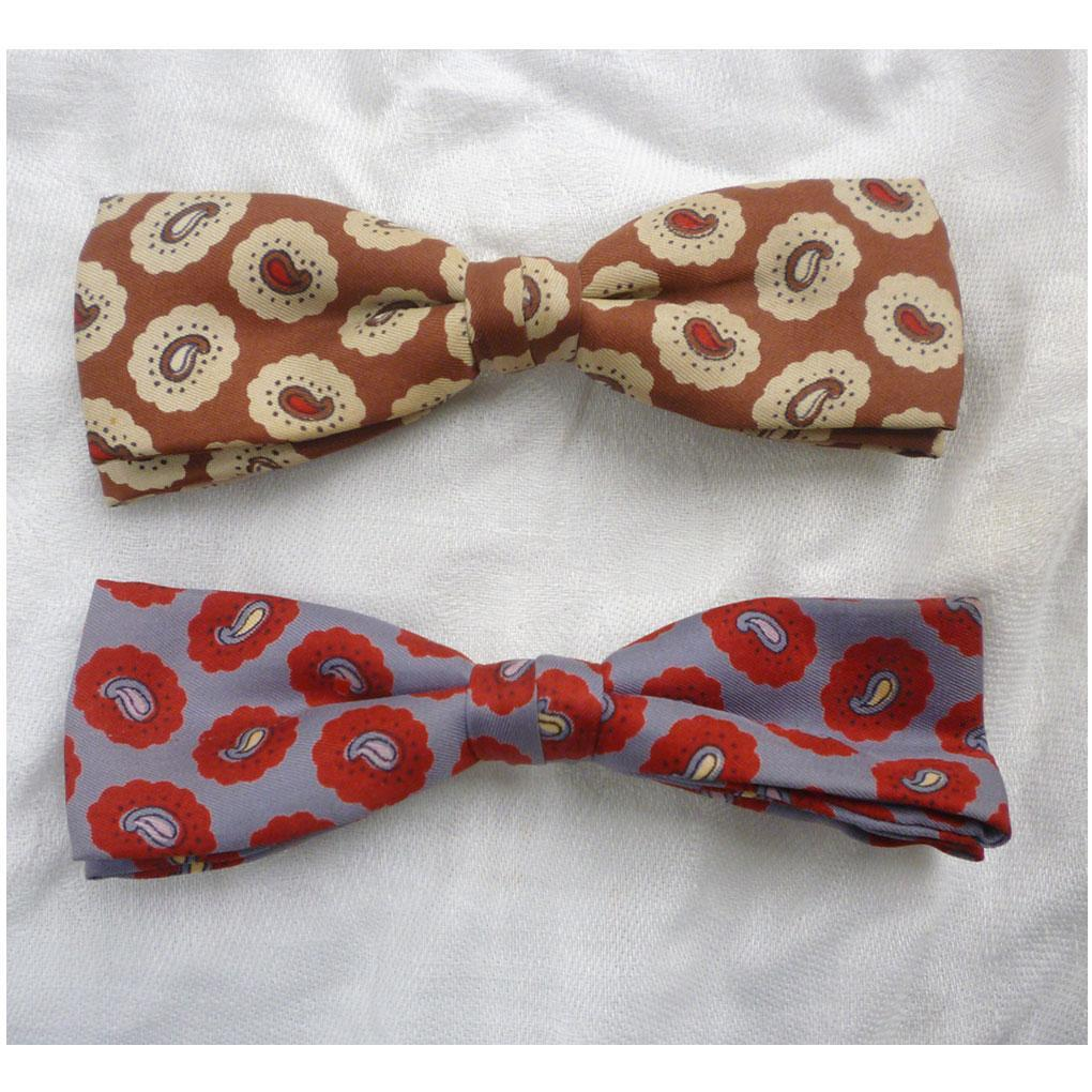 Pair of Paisley Bow Ties Ormond Vintage 1950s