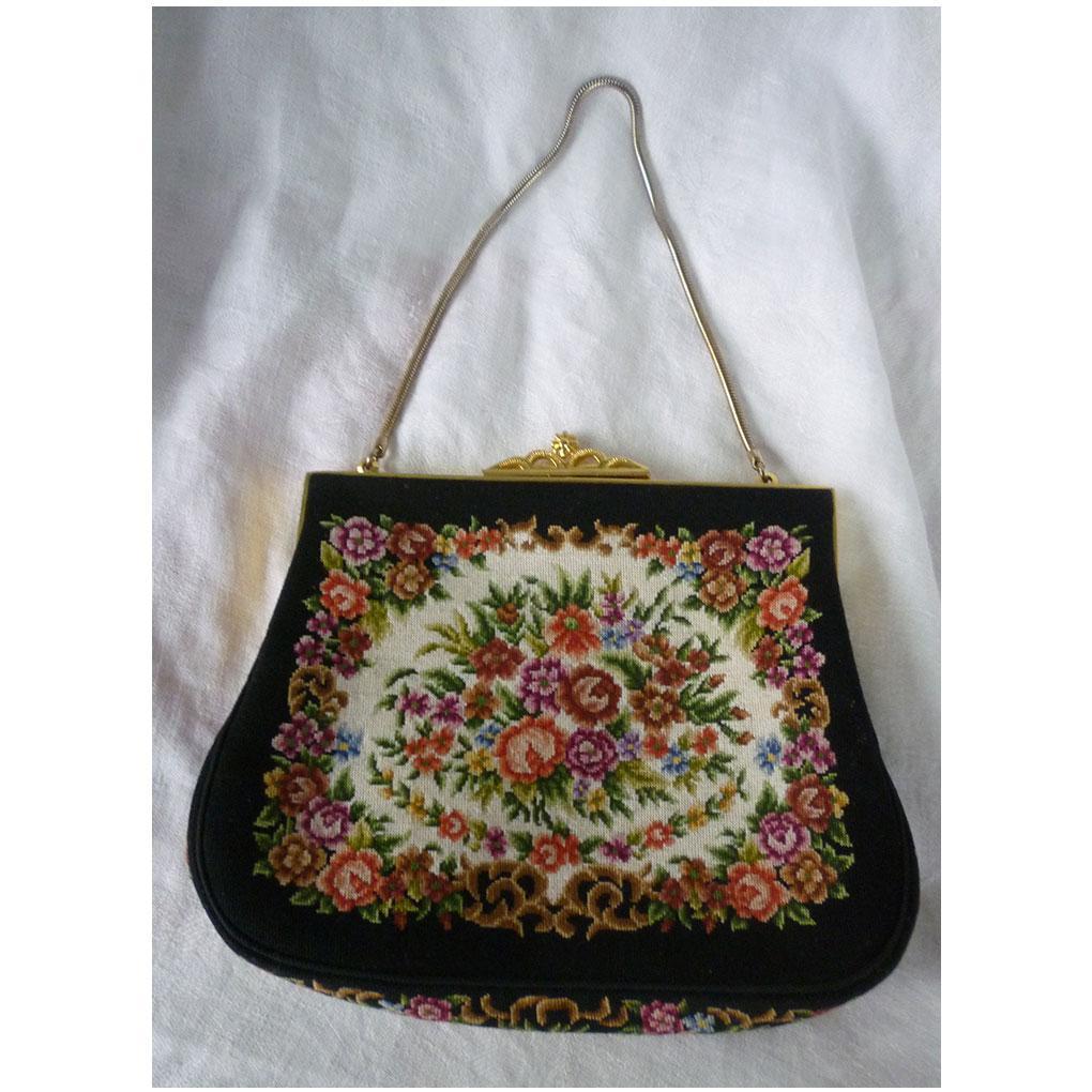 Floral Tapestry Hand Bag Made in Hong Kong