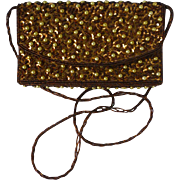 Coppery Beads and Sequins Evening Bag