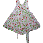 Red and Pink Flowers Print Vintage Full Apron