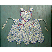 Sweet Hearts with Blueberries Print Vintage Full Apron