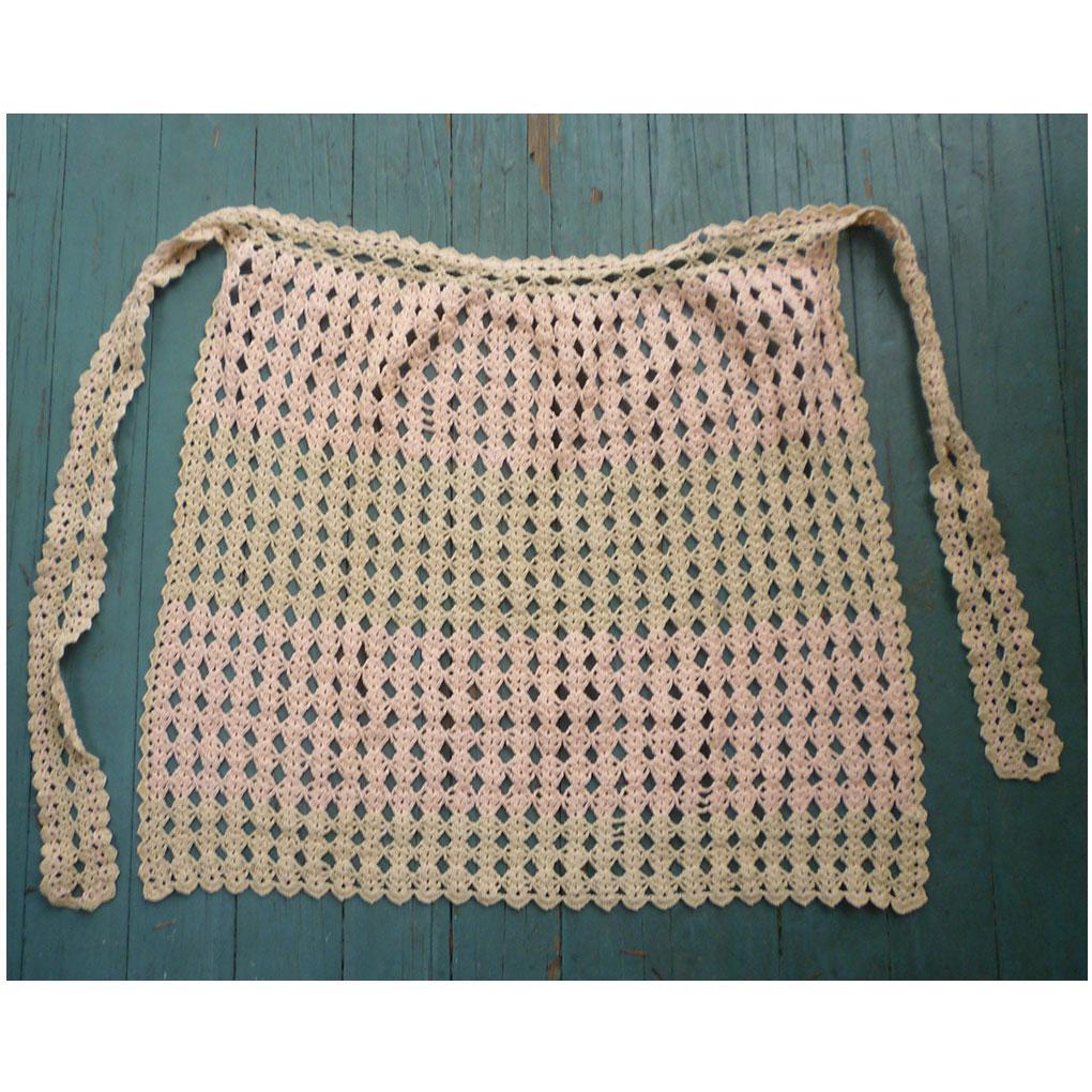 Pink and Ecru Hand Crochet Vintage Half Apron
