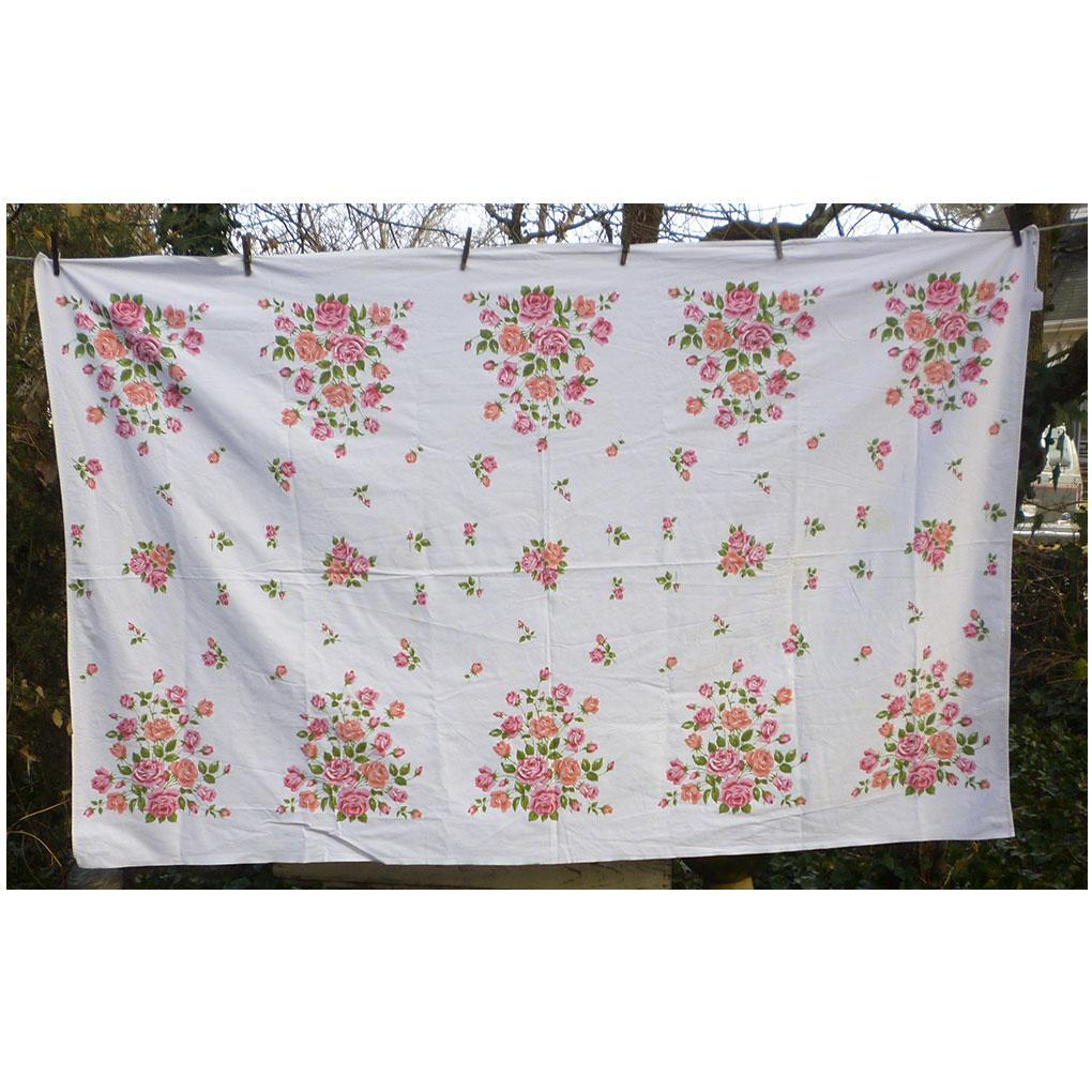 Pink and Coral Roses Print Willendur Tablecloth