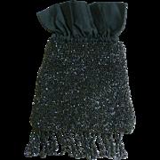 Antique Black Steel Cut Beads Reticule Purse