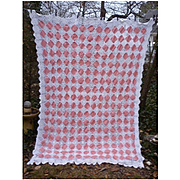 Romantic Quilt Blocks Pattern Pink White Crochet Bedspread