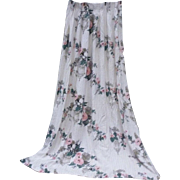 Flowers and Oriental Bird Cages Barkcloth Drape