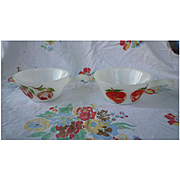 Pair Fire King Anchor Hocking Gay Fad Fruits Lug Soup Bowls