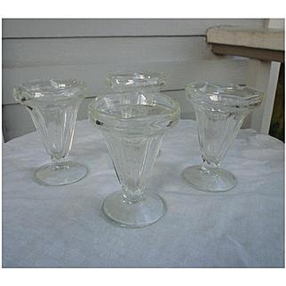 Vintage Soda Fountain Ice Cream Sundae Glasses
