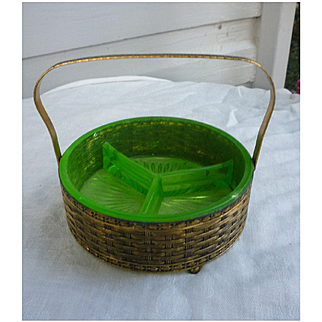 Vintage Green Depression Glass Divided Dish in Gold Brass Filigree Basket 3 Sections