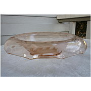 Vintage 1930s Pink Depression Glass Etched Floral Rolled-Edge Console Bowl