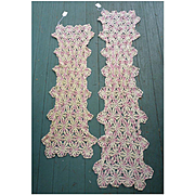 Two Pink and Ecru Crochet Runners Dresser Scarves