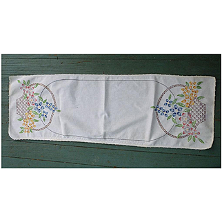 Red Yellow Blue Flowers in Baskets Embroidered Linen Runner